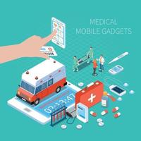 Medical Mobile Gadgets Isometric Composition Vector Illustration