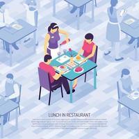 Ilustración de vector de ilustración isométrica de camarero de restaurante