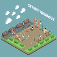 Street Workout Isometric Composition Vector Illustration