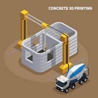 Concrete 3D Printing Composition Vector Illustration