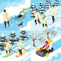 Family Winter Holidays Isometric Concept Vector Illustration