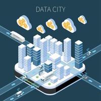 Data City Isometric Composition Vector Illustration