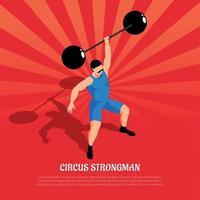 circo hombre fuerte ilustración isométrica ilustración vectorial vector