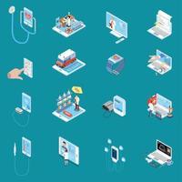 Digital Mobile Health Isometric Icons Vector Illustration