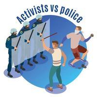 Activists Isometric Round Background Vector Illustration