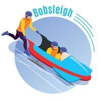 Bobsleigh Round Background Vector Illustration