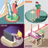 Weekend At Home Isometric Concept Vector Illustration