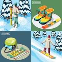 Ski Resort Isometric Design Concept Vector Illustration