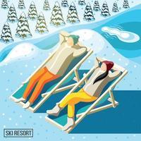 Ski Resort Visitors Isometric Background Vector Illustration