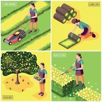 Landscaping Isometric Design Concept Vector Illustration