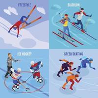 Winter Sports 2x2 Design Concept Vector Illustration