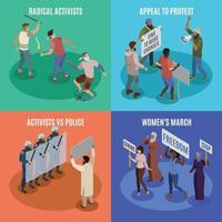 Activists 2x2 Design Concept Vector Illustration