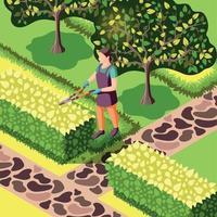 jardinería arbustos recortar ilustración isométrica ilustración vectorial vector