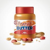 Peanut Butter Jar Composition Vector Illustration