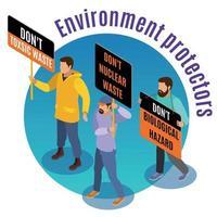 Toxic Waste Hazards Isometric Background Vector Illustration