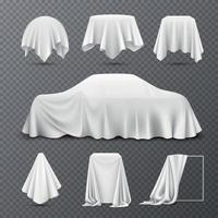 Cloth Covered Objects Transparent Set Vector Illustration