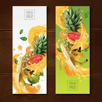 Fruity Vertical Banners Set Vector Illustration