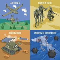 Military Robots 2x2 Design Concept Vector Illustration