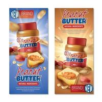 Peanut Butter Vertical Banners Vector Illustration