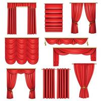 Realistic Luxury Red Curtains Set Vector Illustration