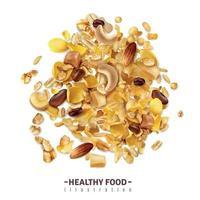 Realistic Granola Food Composition Vector Illustration