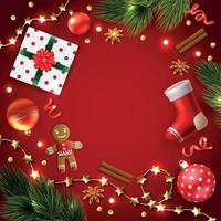 Christmas Decoration Objects Composition Vector Illustration