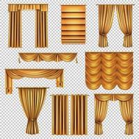 Luxury Gold Curtains Transparent Set Vector Illustration