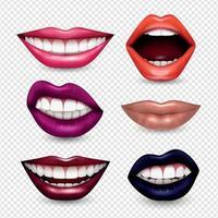 expresiones de la boca realista ilustración vectorial transparente vector