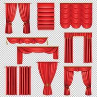 Cortinas rojas de lujo conjunto transparente ilustración vectorial vector