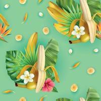 Tropical Plants Banana Pattern Vector Illustration