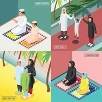 Muslim Family 2x2 Isometric Concept Vector Illustration