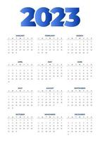simple blue 2023 calendar vector