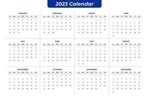2023 clear calendar vector