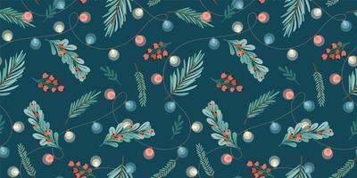 Navidad y feliz año nuevo de patrones sin fisuras. guirnaldas, arbol de navidad, bombillas, frutos del bosque. símbolos de año nuevo. vector