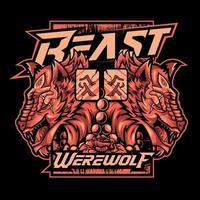 Beast Werewolf with Flowers Design vector