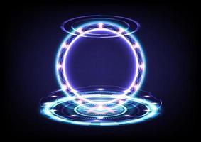 fondo abstracto. portal y ciencia del holograma futurista. ciencia ficción digital de alta tecnología en brillante circuito de hud. puerta mágica en el juego de fantasía. podio de teletransporte circular. interfaz gráfica de usuario y interfaz de usuario. proyector vr y mr vector