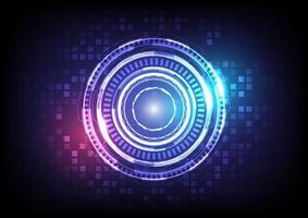 Abstract hologram high tech background. Virtual reality technology innovation. Head-up display interface. Futuristic Sci-Fi glowing HUD circle. Digital infographic business. Pixel screen vector
