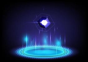Cubo 3d. fondo abstracto. portal y ciencia del holograma futurista. alta tecnología digital de ciencia ficción en hud brillante con halo. puerta mágica en el juego de fantasía. podio de teletransporte circular. realidad virtual gui y ui vector