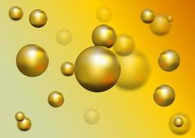 Golden ball and blur effect on screen. Abstract background vector