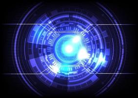 Futuristic Sci-Fi glowing HUD circle and sphere. Blue light effect. Abstract hi-tech background. Head-up display interface. Virtual reality technology innovation screen. Digital business vector