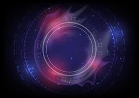 Abstract hi-tech background. Virtual reality high technology innovation. Head-up display interface. Futuristic Sci-Fi glowing HUD circle with smoke of burn. Digital business vector