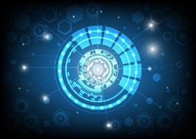 Futuristic Sci-Fi glowing HUD circle and sphere. Light effect. Abstract hi-tech background. Head-up display interface. Virtual reality technology innovation screen. Digital business. Geometrics of hexagon shapes vector