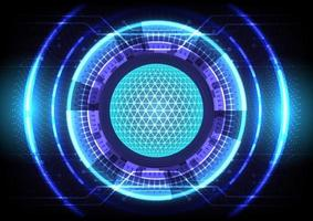 Blue light effect. Abstract hi-tech background. Futuristic Sci-Fi glowing HUD circle and sphere. Head-up display interface. Virtual reality technology innovation screen. Digital business vector