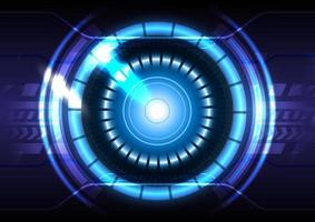 Light effect. Futuristic Sci-Fi glowing HUD circle and sphere. Abstract hi-tech background. Head-up display interface. Virtual reality technology innovation screen. Digital business vector