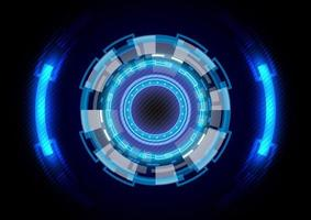 Futuristic hologram Sci-Fi glowing HUD circle. Abstract hi-tech background. Head-up display interface. Virtual reality technology innovation. Digital business. Light effect vector