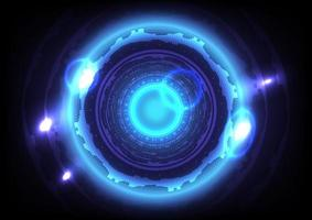 Futuristic Sci-Fi glowing HUD circle and sphere. Abstract hi-tech background. Virtual reality technology innovation. Head-up display interface. Digital business. Light effect vector