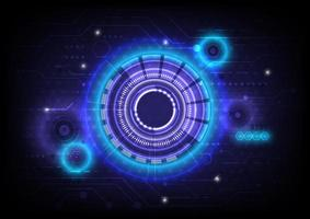 Circuit board. Futuristic hologram Sci-Fi glowing HUD circle. Abstract hi-tech background. Head-up display interface. Virtual reality technology innovation. Light effect. Digital business vector