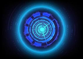 Futuristic Sci-Fi glowing HUD circle and sphere. Abstract hi-tech background. Head-up display interface. Virtual reality technology innovation screen. Light effect. Digital business vector