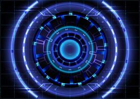 Abstract hi-tech background. Virtual reality high technology innovation. Head-up display interface. Futuristic Sci-Fi glowing HUD circle. Digital business vector