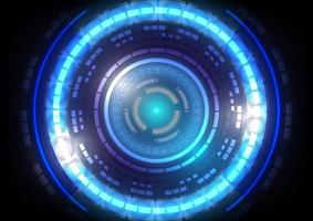 Abstract hi-tech background. Virtual reality high technology innovation. Head-up display interface. Futuristic Sci-Fi glowing HUD circle . Digital infographic business vector